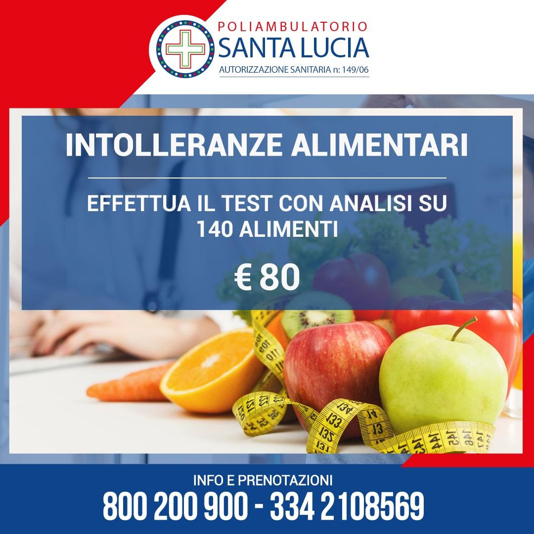 POLIAMBULATORIO SANTA LUCIA GALATONE PROMOZIONE TEST INTOLLERANZE ALIMENTARI