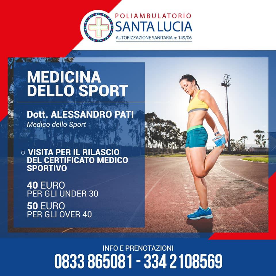 visita certificato medico sportivo galatone poliambulatoio santa lucia